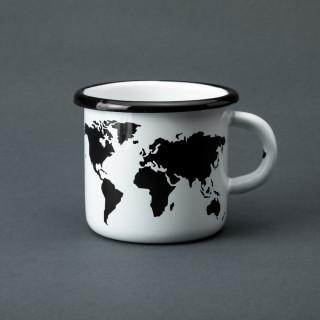 """Емальована кружка """"Мапа світу"""" біла, 400 мл"""