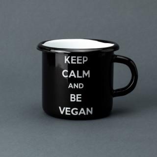 """Емальована кружка """"Keep calm and be vegan"""" чорна, 400 мл"""