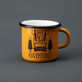 "Емальована кружка ""Say yes to new adventures"" жовта, 400 мл"